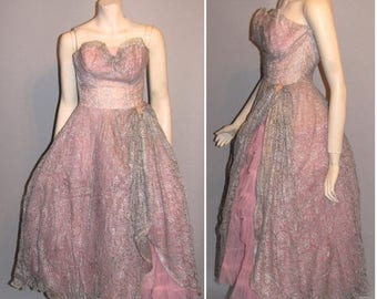 ON SALE Vintage 1950's Pretty In Pink and Grey 50's Lace Tulle Gown Gala Prom Wedding Womens Ladies Ballgown Dress - XS