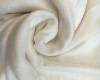 Natural Unbleached Bamboo Cotton Fleece Fabric - 340 gsm - 142 cm width - price per metre