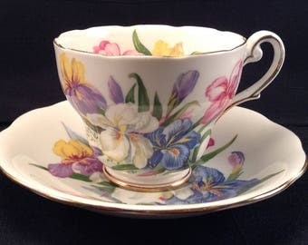 """Royal Standard """"Winsome"""" Pattern Cup & Saucer/Fine Bone China England/Footted Cup and Saucer"""