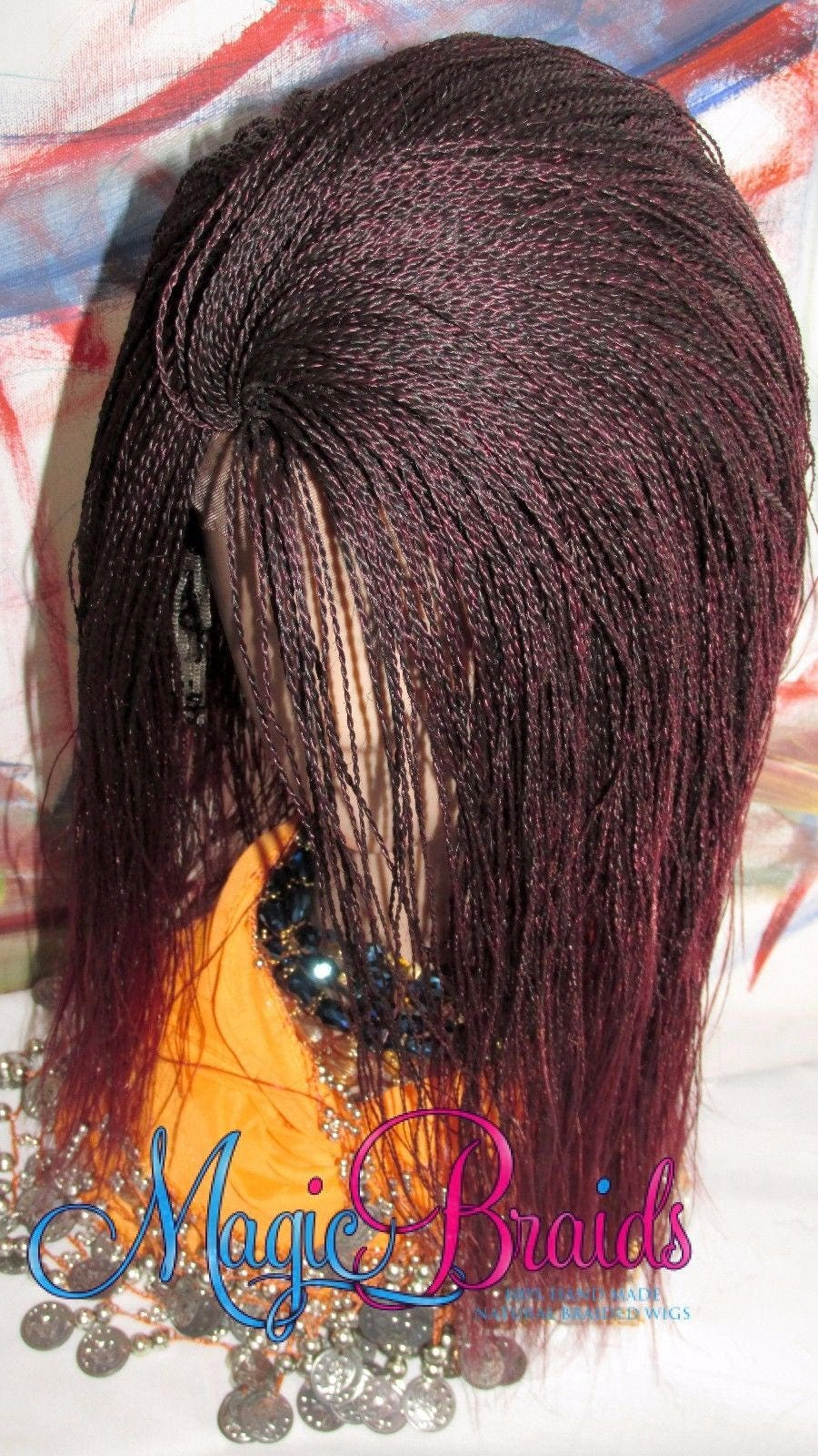 Fully Braided Lace Front Wig Micro Braids Red Black Ombre