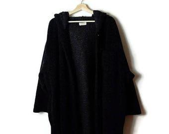 Vintage Oversized Plain Black  Fleece button down  Hooded Parka/Coat from 90's/minimal*