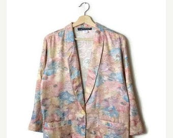 ON SALE Vintage Pale Pink Floral  Slouchy Blazer from 1980's*