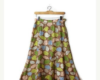 ON SALE Vintage Colorful Leaf Printed  flare Skirt from 90's/W26/Brown*