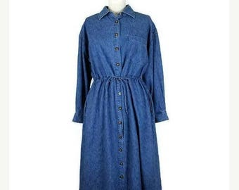 ON SALE Vintage Denim Long Sleeve Button down Casual  Dress  from 90's/Eddie bauer*