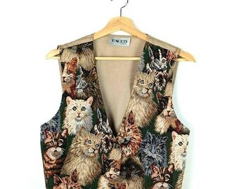ON SALE Vintage Cats Tapestry Vest from 80's/Kittens/Animal*