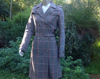 Trench coat by 'Malvin' of Germany. Plaid, double breasted, 100% cotton, medium.