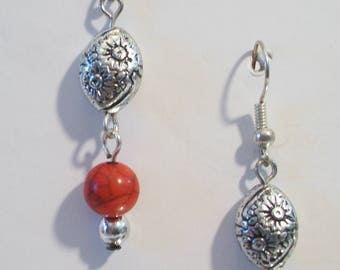 Red Coral Sunflower Dangle Earrings Beaded Handmade Jewelry Silver Tone