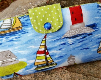 Lighthouse Checkbook Cover, Sail Boat Coupon Wallet, Lighthouse Wallet, Lighthouse Fabric Checkbook Case