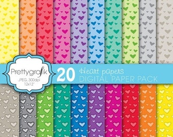80% OFF SALE 20 heart valentine digital paper, commercial use, scrapbook papers, background - PS579