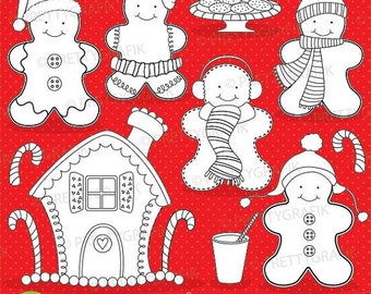80% OFF SALE Gingerbread digital stamp commercial use, vector graphics, digital stamp, christmas - DS596