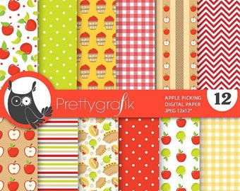 80% OFF SALE Apple picking digital papers, commercial use, scrapbook papers, background, fall  - PS756
