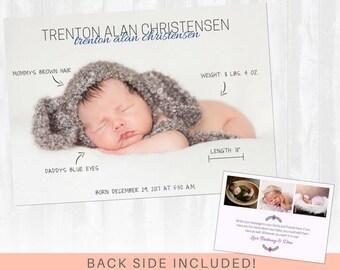Baby Birth Announcement: Handwritten stats, Birth Announcement Girl, Birth Announcement Boy, Birth Announcement Card, Modern Announcement
