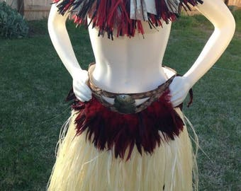 Cook Islands & Tahitian male or female feather belt.