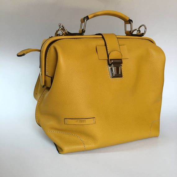 Leather doctor bag, Metal framed doctor bag, Yellow Bag, Yellow Leather Bag, Yellow doctor bag, Mary Poppins Bag