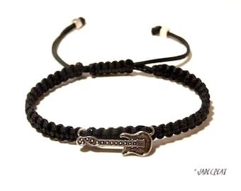 Mens bracelet - guitar - ref Br 023 - black
