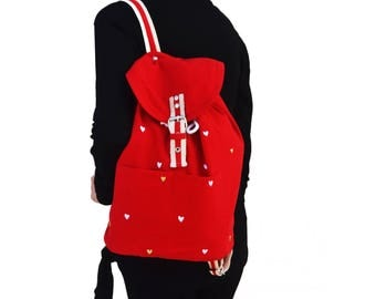 Red Backpack, Embroidered Bag for Girls, Women's Backpacks for Bridesmaids Gift, Birthday Present, Graduation Gift, Cute Valentines Gift