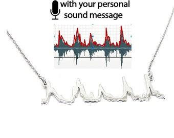 Sterling silver soundwave necklace platinum plated ,waveform necklace,custom sound wave pendant,personalized waveform, sonogram ultrasound