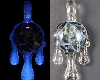 UV Reactive Silver / Gold Fumed Chaos Pendant, Dripping 'Blue-V'