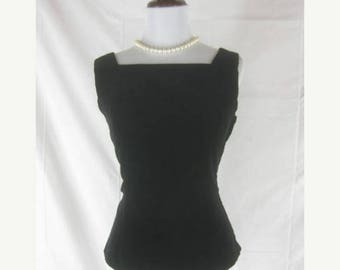 On sale Vtg 50s 60s Black Velvet Womens Vintage NOS NWOT Top Shirt Blouse