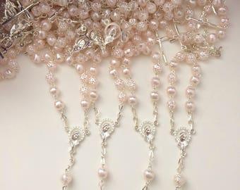 25 pcs Pearl Decade Rosaries, Mini Rosaries, First communion favors Recuerditos Bautizo 25pz/ Mini Pearl Rosary Baptism Favors 25 pcs