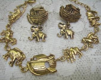 Vintage NOAH'S ARK Jewelry Lot...Gold Bracelet/Matching Earrings...JJ Pewter Noah's Ark Post Back Earrings...3 Pieces Ark Destash