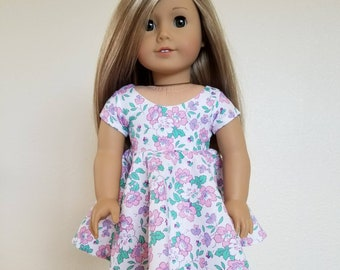 Party Dress for American Girl by The Glam Doll- white, teal, purple dress