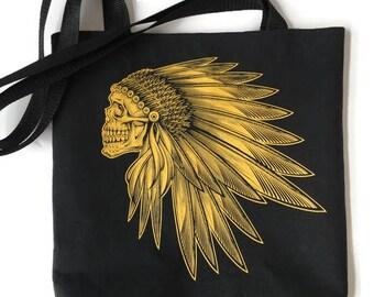 Indian Skull Bag • Upcycled Tshirt Tote Bag • Skull Tshirt Bag • Skull Gift