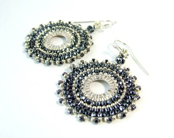 Dark Grey Earrings Beaded Hoop Earrings Glass Dangle Earrings Boho Beadwoven Jewelry Statement Earrings Handmade Gift for Her Beadwork Woven