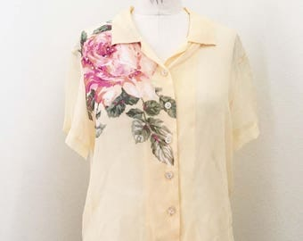 Vintage 90s Yellow Sheer Silk Floral Sequin Blouse