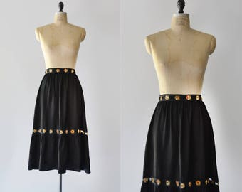 Midnight Walk Skirt / 1970s Gunnies dark floral skirt / vintage silky prairie skirt