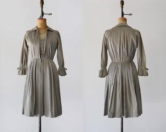 Parasol Dress / 1950s silk day dress / vintage grey striped dress