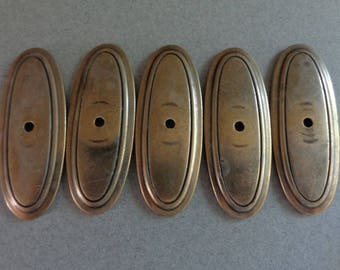 Vintage Cabinet Pull Back Plates Antique Brass Oval shape P277 set of 5 backplates