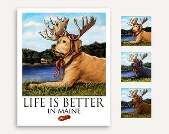 Lab with Moose Antlers FREE Custom Text 'Life is Better' Print