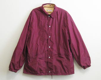 LL Bean Jacket Lined Large XL - Burgundy Nylon Windbreaker