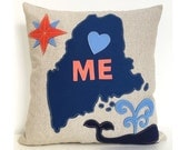 Maine Map & Spouting Whale Pillow in Blue and Coral Felt Applique on Oatmeal Linen
