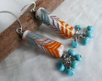 "Long earrings ""Happened"" with glass Lampwork beads. Lampwork"