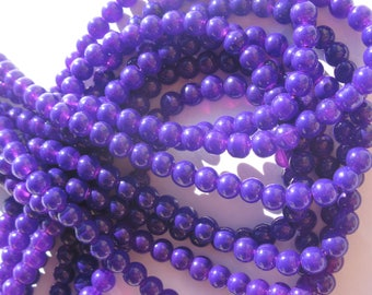 12 purple 6 mm (6-3) colorful agate beads
