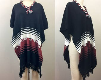 Vintage 70s Ethnic Poncho Hippie Boho Black Brown White Sweater OS