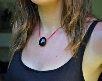Black Onyx and Red Threads Pendant handmade with natural black onyx stone