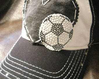 Soccer mom love patchwork distressed ball cap