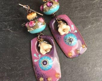 Summer Brights, Enameled Copper Dangle Earrings, Sunburst Earrings, Bright Colors, Whimsical Earrings, Art Beads