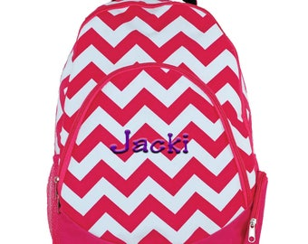 Hot Pink Girls Chevron School Backpack | Personalized Pink Backpack | Monogrammed Backpack | Laptop Backpack | College Backpack