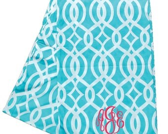 Womens Monogrammed Continuous Loop Aqua Vine Infinity Scarf | Personalized Tube Scarf | Aqua Winter Scarf | Monogrammed Scarves