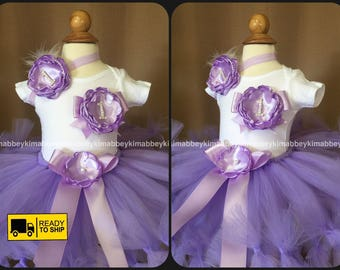 Beautiful  baby girls first birthday tutu set in lavender  with matching headband