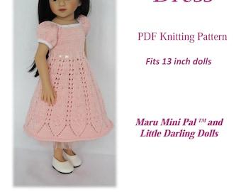PDF Knitting pattern BELLA DRESS Fits 13 inch dolls (Maru Mini Pal, Little Darling )