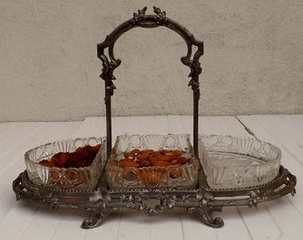 French Art Nouveau serving tray hors d'oeuvres dish buffet tray style Louis XVI French home decor tableware French romantic interior