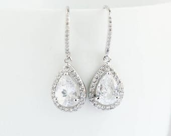 Bridal Earrings, White Gold Earrings,White  Gold Drop Earrings, White Gold Dangle Earrings,White  Gold earrings, Bridal