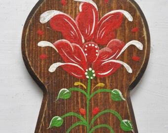 Norwegian Rogaland Rosemaling Key Chain Hand Painted Vintage