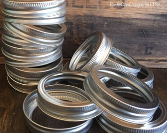 "Mason Jar Lids  12 Pack Regular Mouth Mason Jar Bands  2.5"" Bands for 1/2 pint, Pint Regular and Quart Regular Jars   Set of 12 Bands"