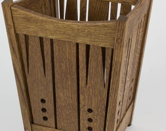 Arts and Crafts Mission Quartersawn Oak Wastebasket Stickley era style